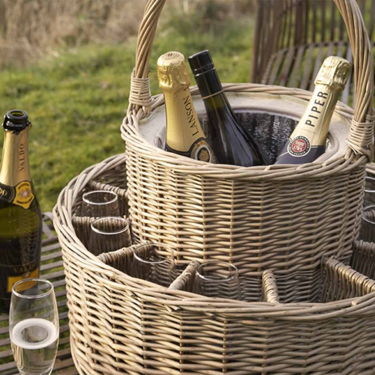 Chilled Wicker Champagne Basket with 12 Flutes  Chill 4 bottles