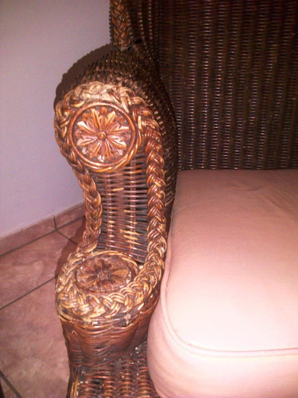 wicker wingback chairs lift for sale beautiful rattan chair with cast iron ball and claw feet collectors weekly