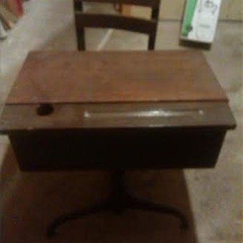 Antique School Desk With Inkwell Value