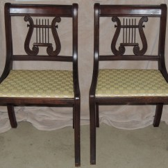 Stool Chair Fantastic Furniture Elastic Covers Duncan Phyfe Style Lyre Back Side Chairs Collectors Weekly