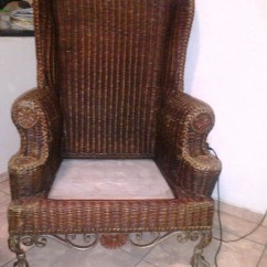 Wicker Wingback Chairs Antique Bistro Table And Beautiful Rattan Chair With Cast Iron Ball Claw Feet Collectors Weekly