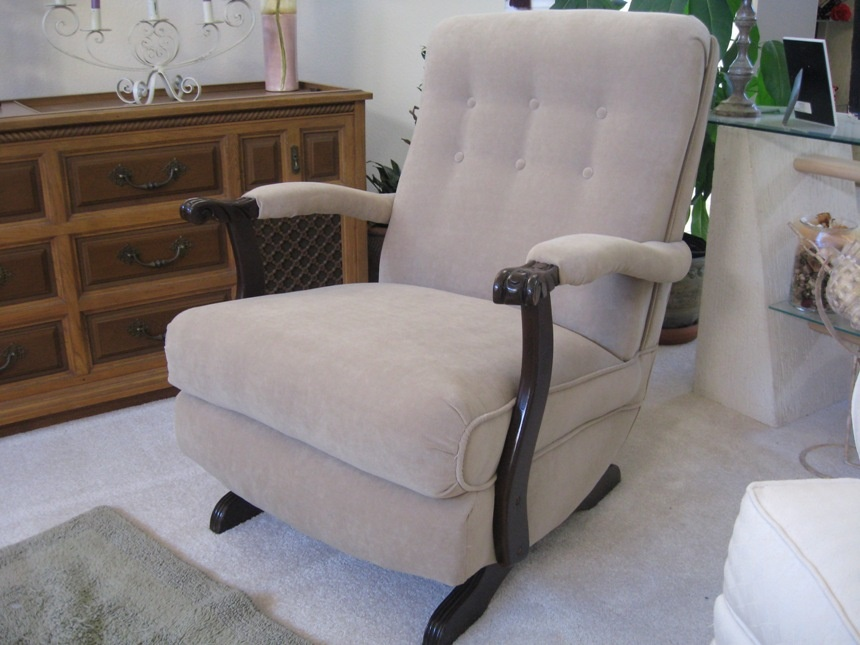 antique platform rocking chair with springs white dining room covers rocker upholstered 1950 s collectors weekly