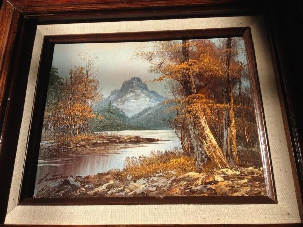 Mountain Scene Oil Paining 't Decipher Artist