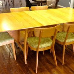 Heywood Wakefield Dogbone Chairs Blush Chair Sashes Harmonic Drop Leaf Table With 2 Leaves And 6 Collectors Weekly