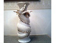 Imposing White Dragon Ceramic Vase with Gold Details /T.K ...