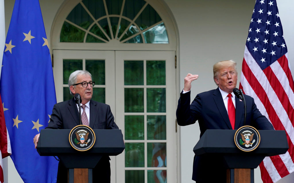 President Donald Trump and President of the European Commission Jean-Claude Juncker speak about trade relations in the Rose Garden of the White House in Washington, D.C. Photo by Joshua Roberts/Reuters