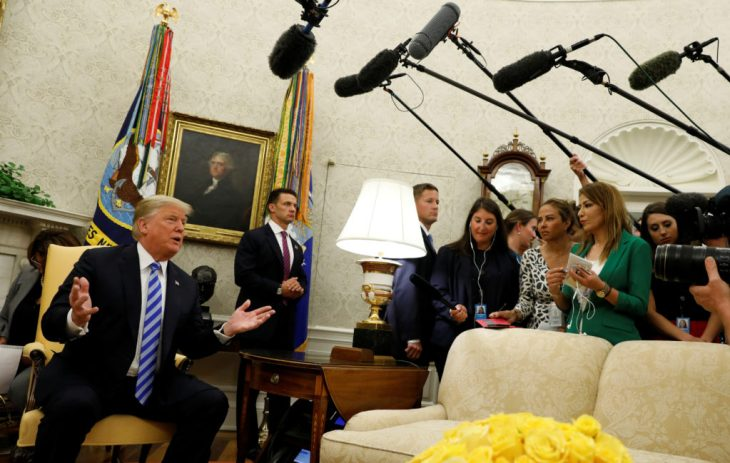 President Donald Trump speaks to reporters at the White House on Sept. 5. Photo by Kevin Lamarque/Reuters