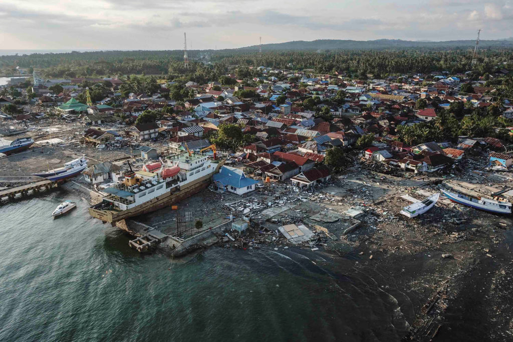 A ship is seen stranded on the shore in Wani, Donggala, Central Sulawesi, Indonesia on Oct. 1. Photo by Antara Foto/Muhammad Adimaja/ via Reuters