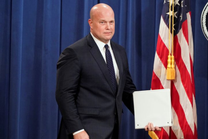 Left: Acting Attorney General Matthew Whitaker arrives to address a news conference about charges against China's Huawei Technologies Co Ltd. Photo by REUTERS/Joshua Roberts