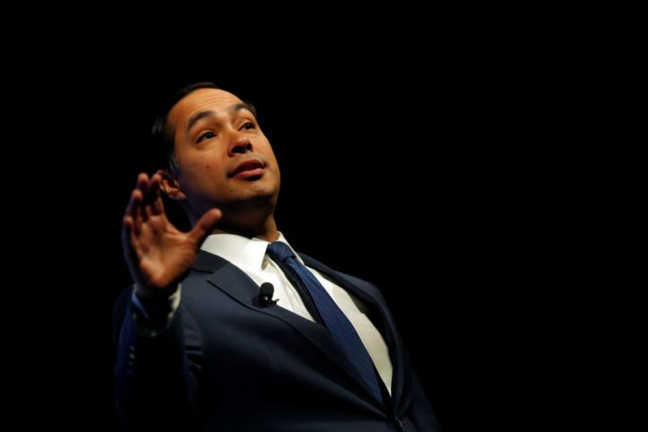 2020 Democratic presidential candidate Julian Castro participates in a moderated discussion at the We the People Summit in Washington on April 1, 2019. Photo by Carlos Barria/Reuters