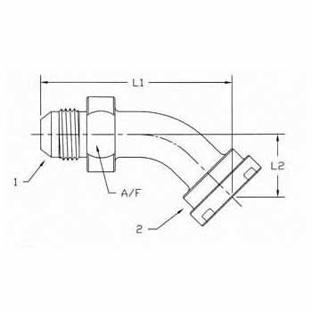 Hydraulic Fitting 1703-20-24 20MJ-24Flange 45 Degree Elbow