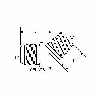 Hydraulic Fittings Male JIC Male Pipe 45 Elbow