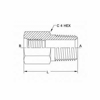 Hydraulic Fittings FORB Male Pipe Straight 6404 Series