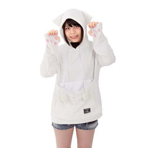 にゃんガルーパーカー(耳/萌え袖肉球/もふもふ猫じゃらし搭載) Mサイズ 白ネコ色
