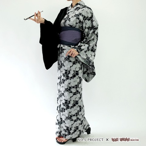 【NO.S PROJECT】「不惑の蝶」 浴衣・帯・帯締めセット 紫黒の刻