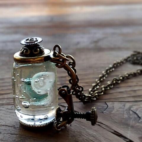 【でぼか硝子玉創作室】文明の欠片-くらげのボトル-