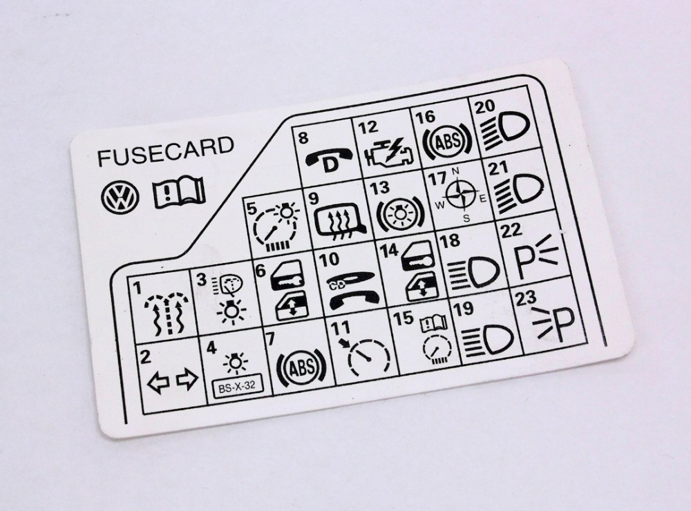 medium resolution of fuse panel diagram key card 98 05 vw passat b5 genuine 3b0 010
