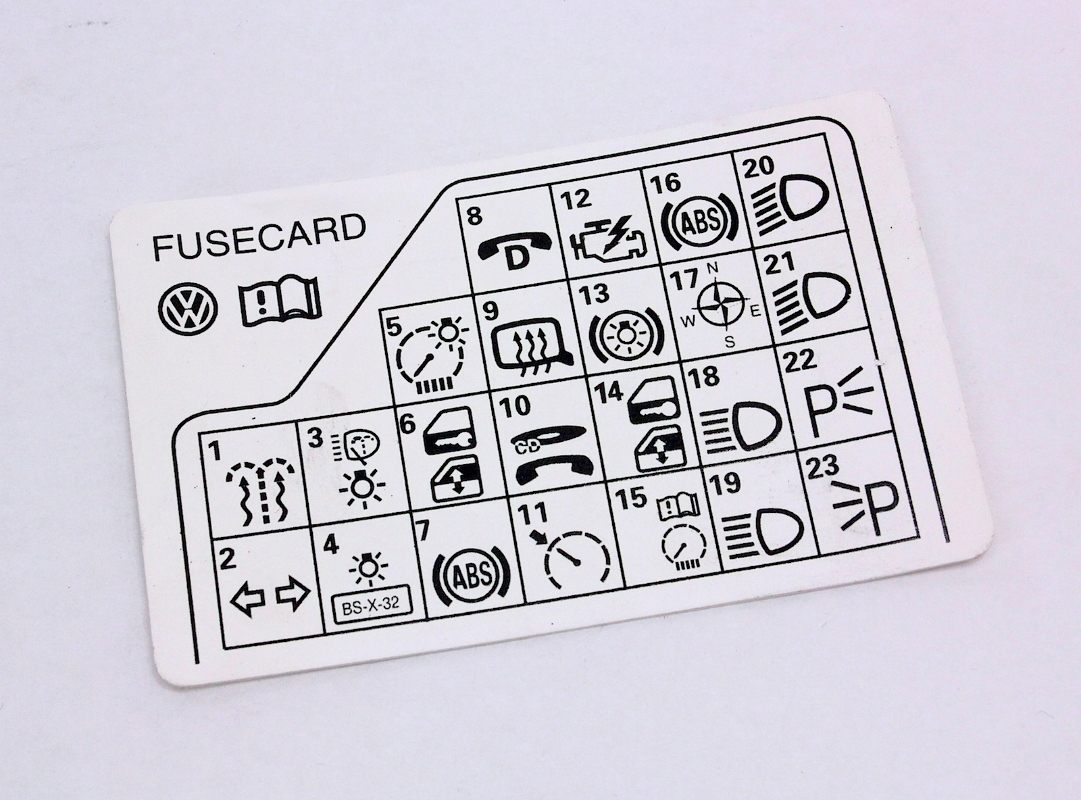 hight resolution of fuse panel diagram key card 98 05 vw passat b5 genuine 3b0 010