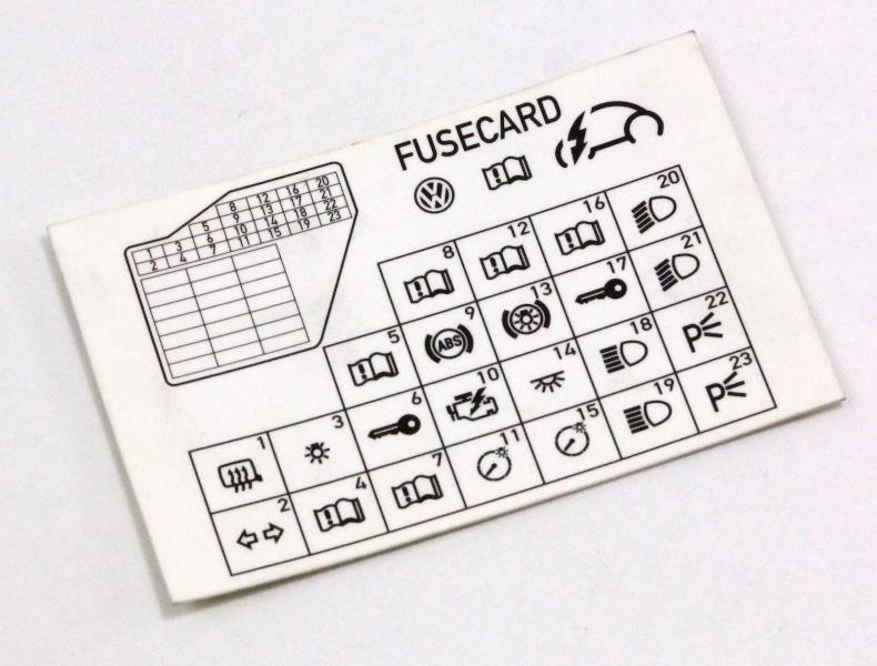 Dash Fuse Box Diagram Card 98-10 VW Beetle
