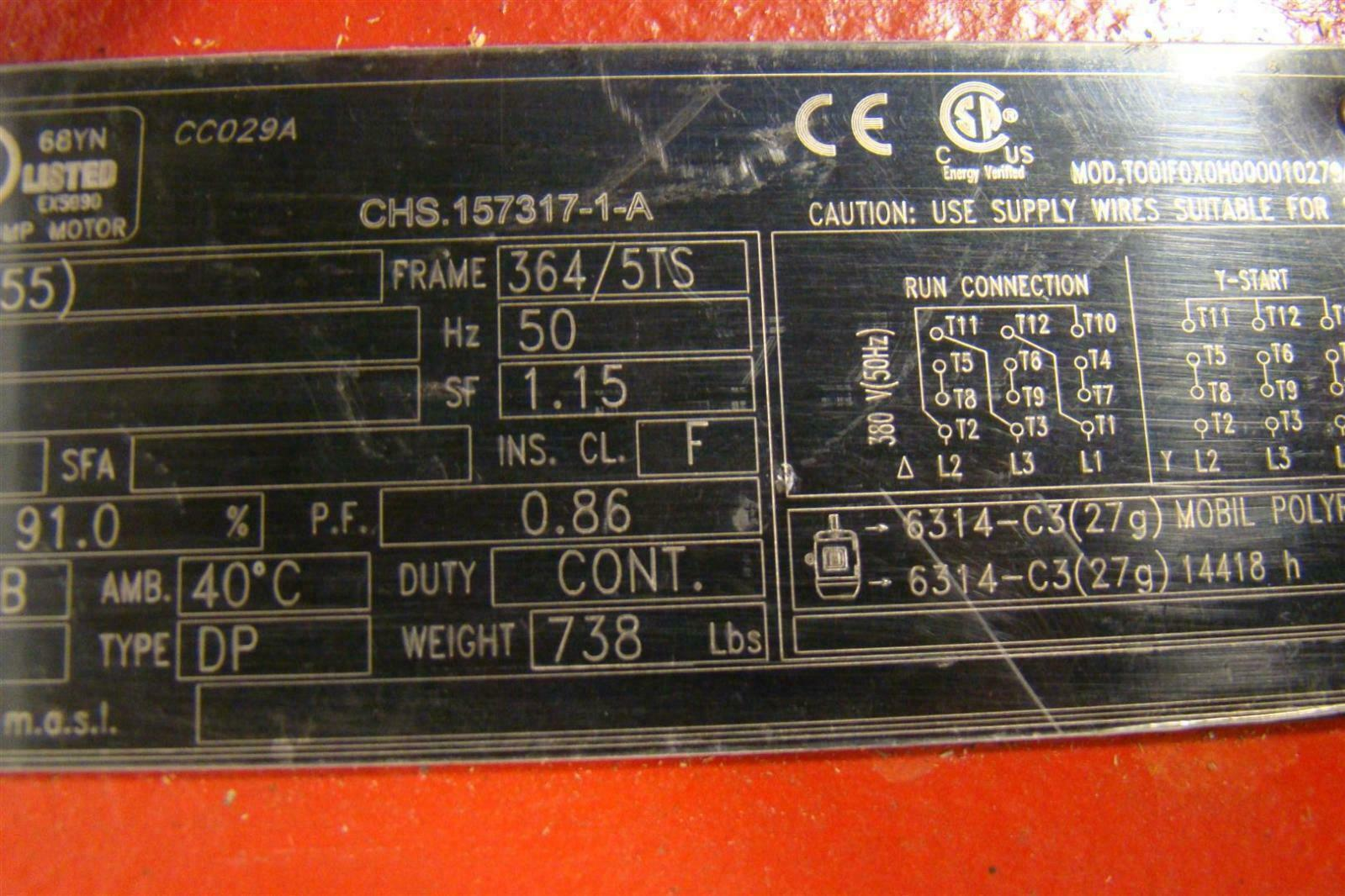 weg fire pump motor wiring diagram light relay motors simplexstyle com 3ph 75hp 380v 2945rpm 107amps chs157317 1 a