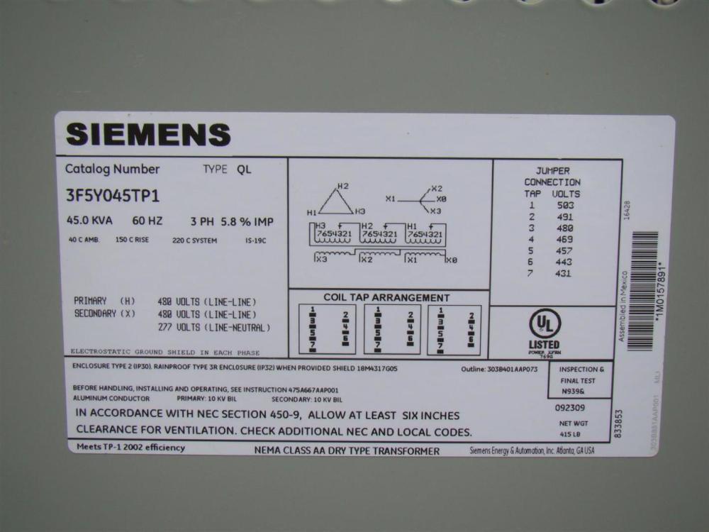 medium resolution of siemens 3 phase transformer 480 x 480 277 volt 45 kva 3f5y045tp1