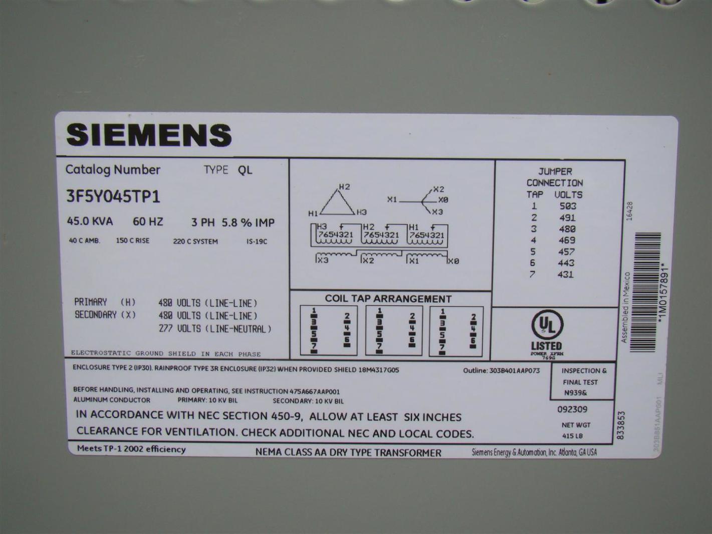 hight resolution of siemens 3 phase transformer 480 x 480 277 volt 45 kva 3f5y045tp1
