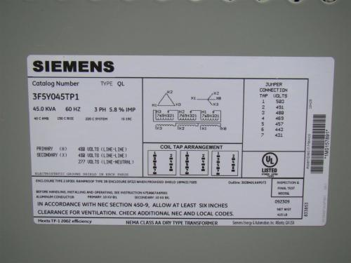 small resolution of siemens 3 phase transformer 480 x 480 277 volt 45 kva 3f5y045tp1