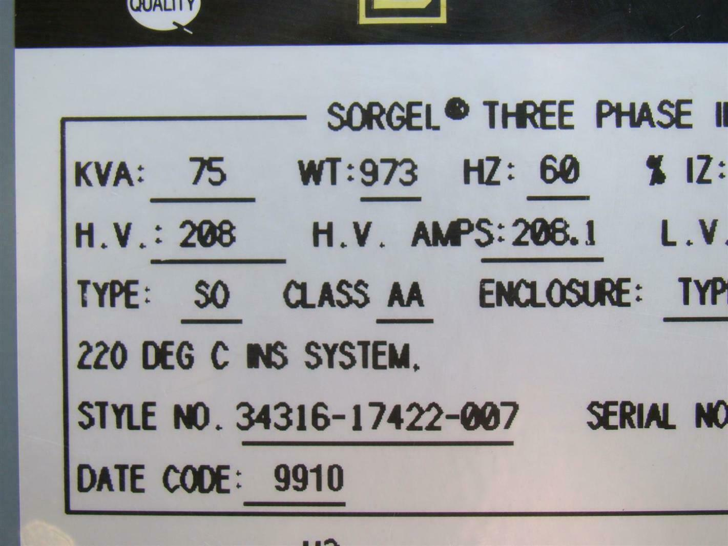 Square D 3 Phase Transformer 208 X 208y 120 Volt 75 Kva