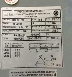 rex wiring diagram wiring libraryrex power 8kva 460v 3ph 60hz isolation transformer  [ 1421 x 1066 Pixel ]