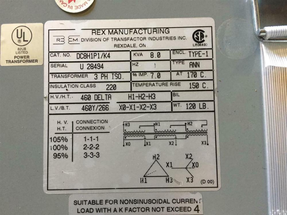 medium resolution of rex wiring diagram wiring libraryrex power 8kva 460v 3ph 60hz isolation transformer
