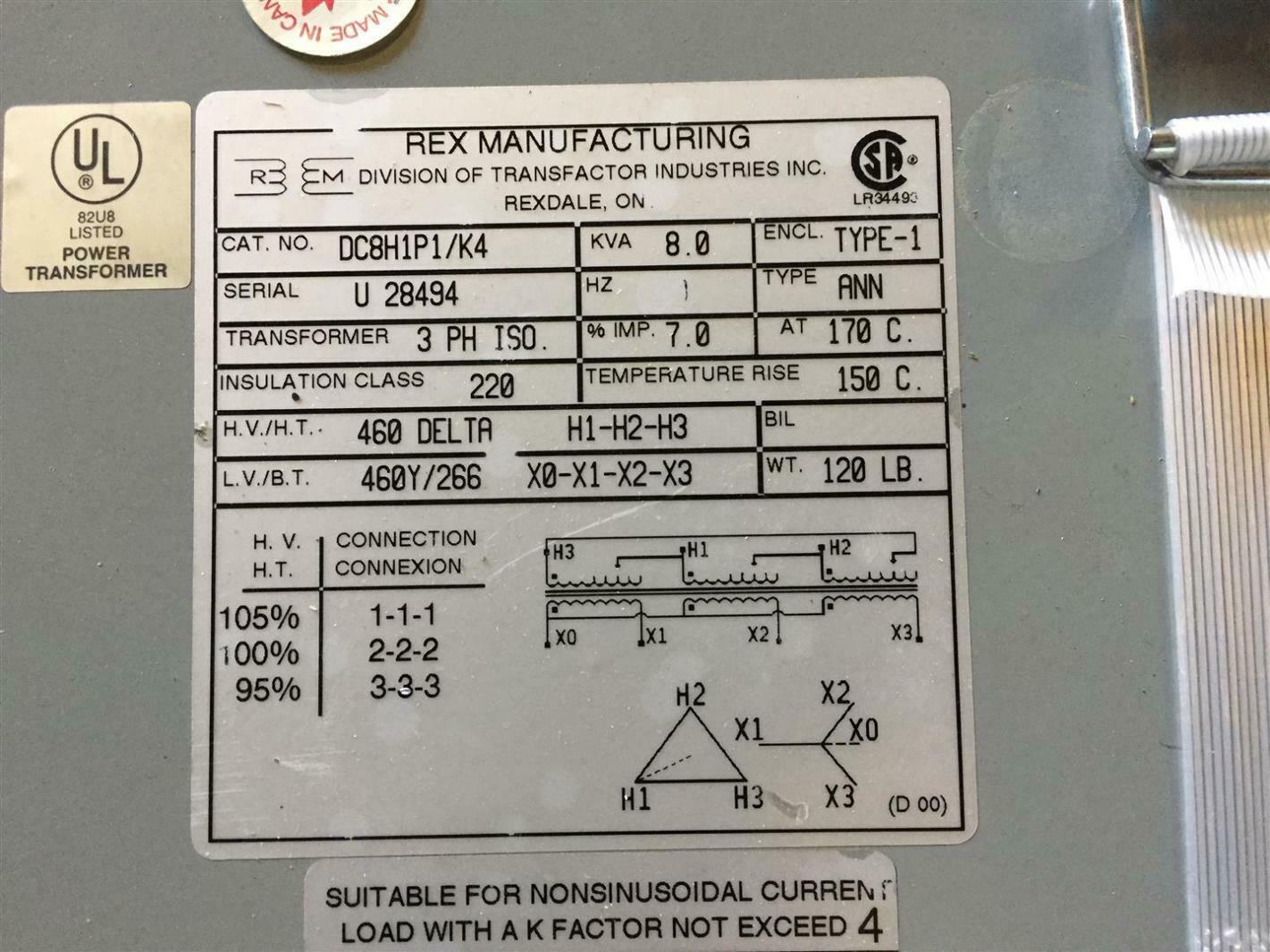 hight resolution of rex wiring diagram wiring libraryrex power 8kva 460v 3ph 60hz isolation transformer