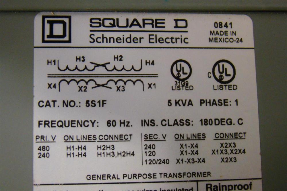 medium resolution of square d 5 kva transformer ph1 480 240 x 240 120 5s1f ebay wiring a potentiometer for motor wiring diagram 5s1f