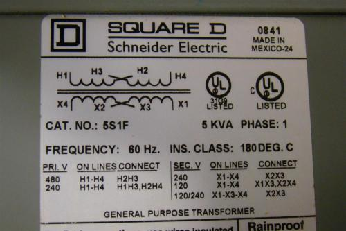 small resolution of square d 5 kva transformer ph1 480 240 x 240 120 5s1f ebay wiring a potentiometer for motor wiring diagram 5s1f