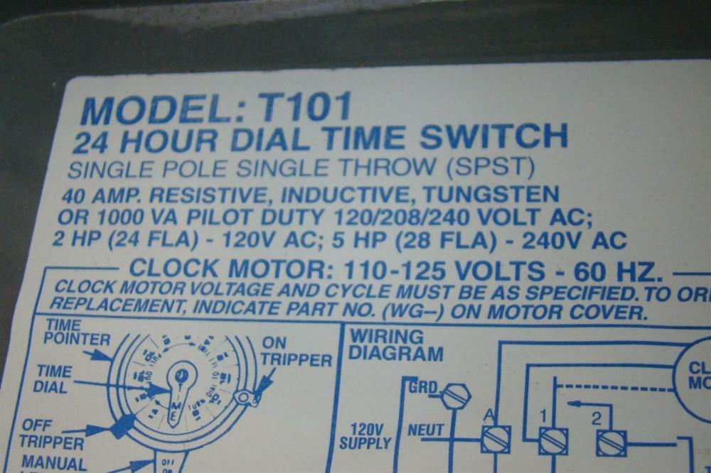 medium resolution of intermatic time switch single pole single throw 40amp 2hp 120v ac 5hp t101