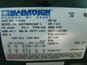 Marathon Electric Inverter Duty 712HP Electric Motor