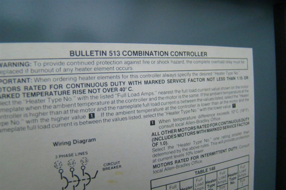 medium resolution of allen bradley bulletin 513 combination starter size 0 w circuit breaker 513