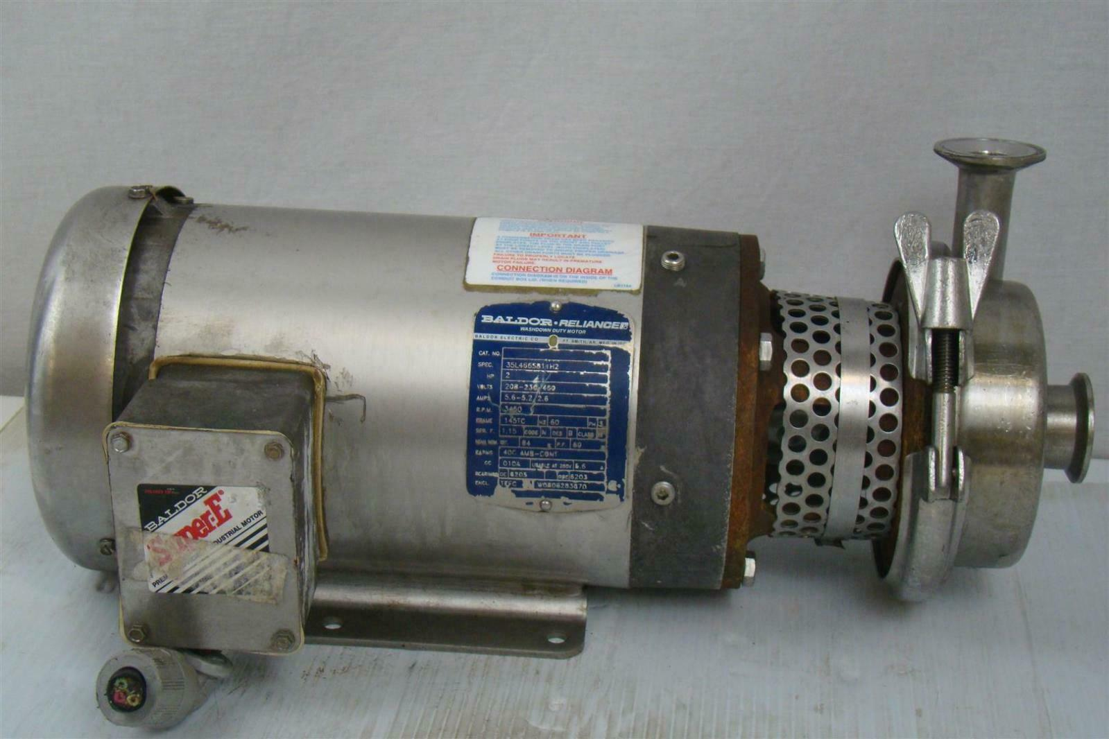 hight resolution of details about stainless centrifugal pump sanitary tri clamp baldor 2hp 3ph 35l466s811h2