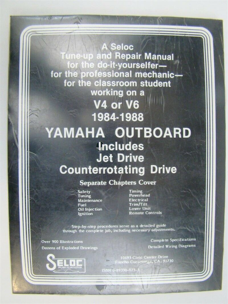 medium resolution of  seloc yamaha outboard v 4 and v 6 repair manual 1984 1988