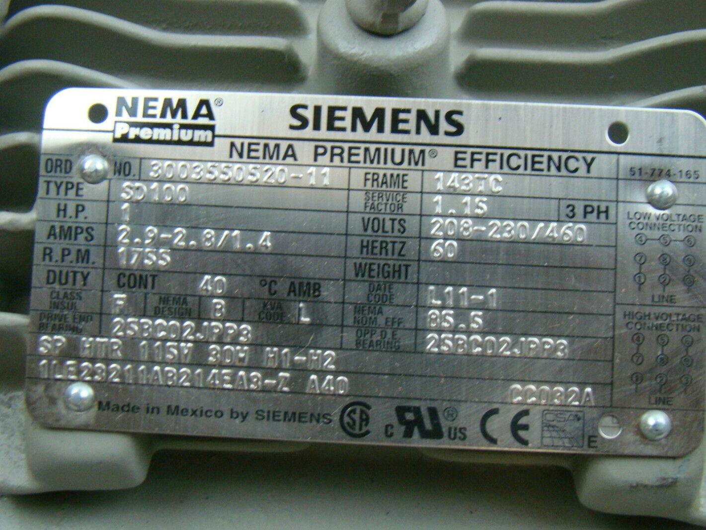 3 phase electric meter wiring diagram vdo gauges diagrams oil pressure sender siemens 1 hp 1755 rpm motor sd100 | ebay