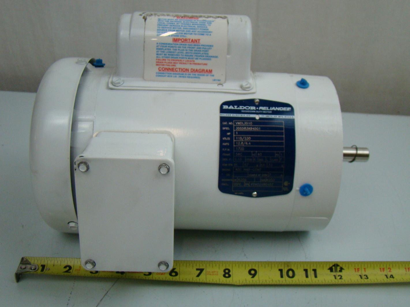 hight resolution of  baldor 1 3 hp 1425 rpm electric motor vwdl3510 ebay on baldor motors wiring diagram