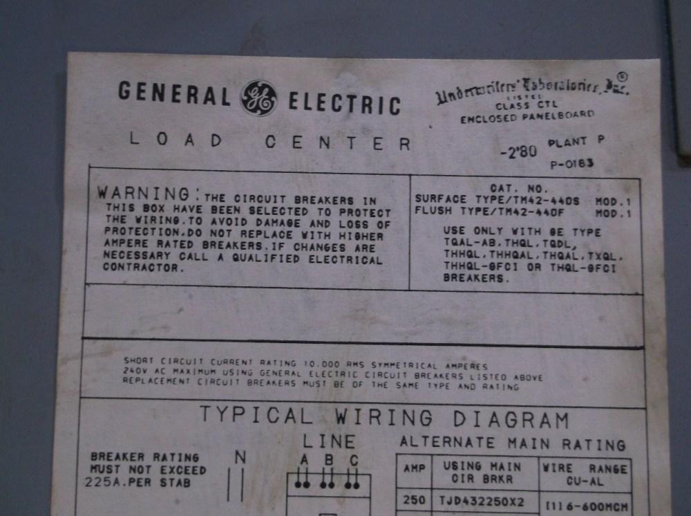 medium resolution of  ge general electric tjd432400 400 amp main breaker load center 3 ph 240 vac