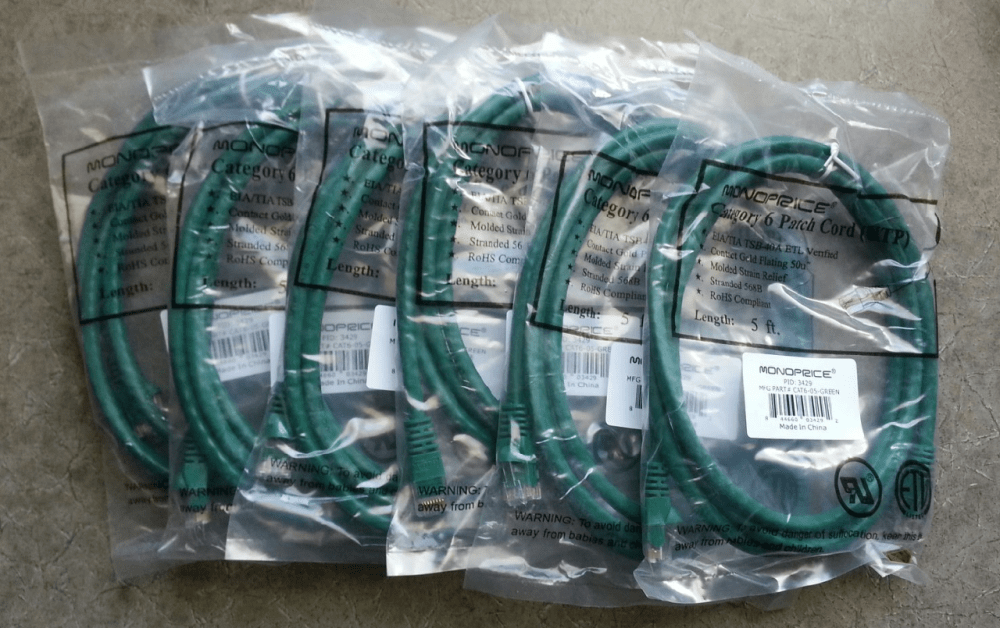 medium resolution of lot of 6 monoprice 5 24awg cat6 550mhz utp green ethernet network patch cables mdg sales llc
