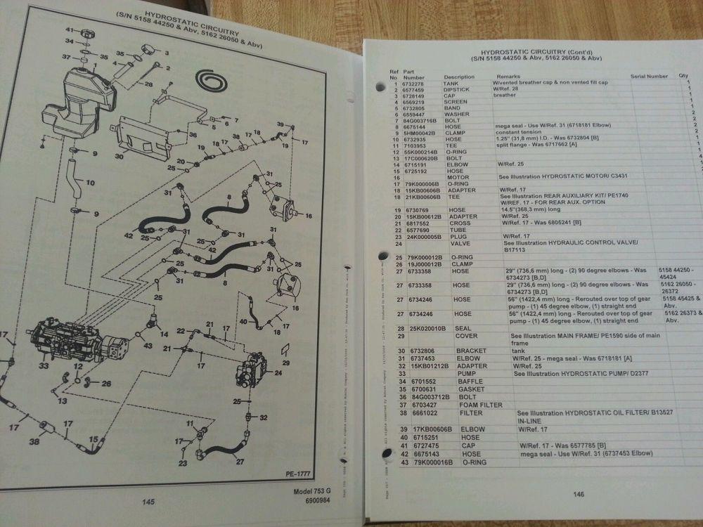 medium resolution of  bobcat 753 753g skid steer parts manual book 6900984