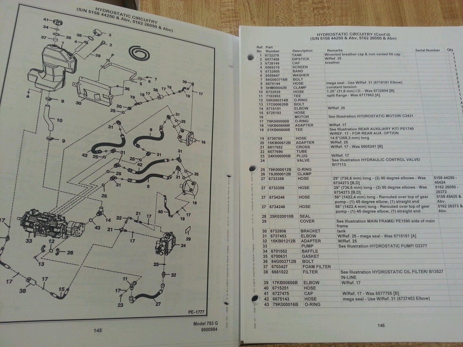 hight resolution of  bobcat 753 753g skid steer parts manual book 6900984