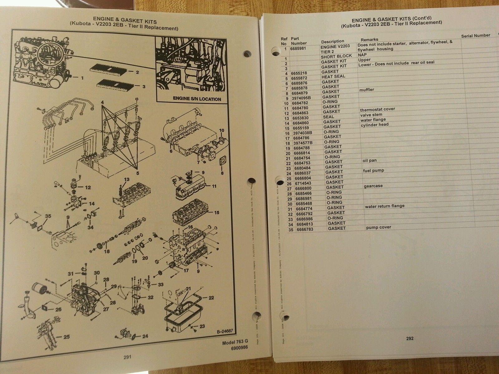 hight resolution of  bobcat 763 763g skid steer parts manual book 6900986
