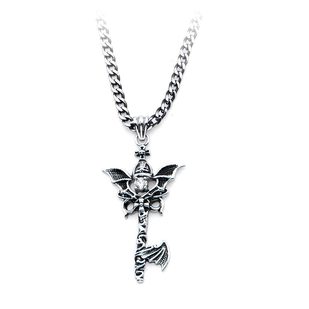 Inox Women'S Goth Stainless Steel Dragon Wing Key Pendant