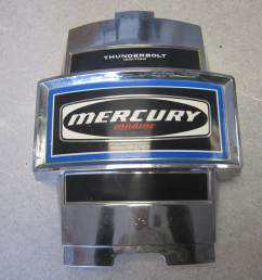mercury outboard thunderbolt ignition blue decal chrome front cowling cover [ 1600 x 1200 Pixel ]