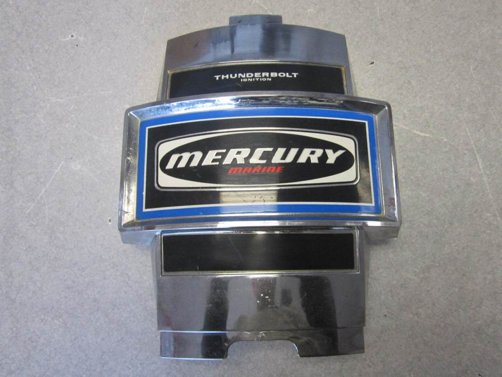 medium resolution of mercury outboard thunderbolt ignition blue decal chrome front cowling cover