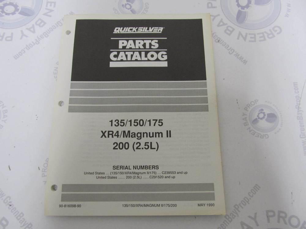 medium resolution of 90 816098 90 quicksilver mercury outboard parts catalog 135 200 hp xr4 magnum ii green bay propeller marine llc