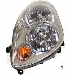 fits 03 04 infiniti g35 sedan left driver halogen headlamp assembly busted auto parts [ 1000 x 1000 Pixel ]